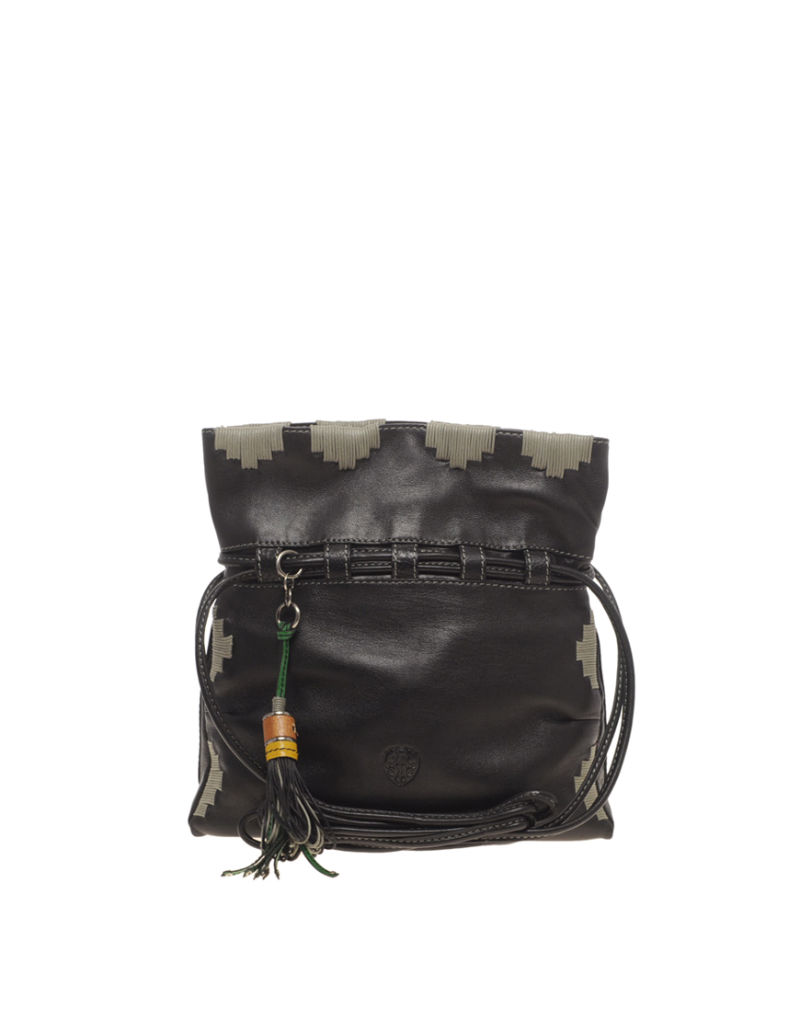 Ameko Gaucho Drawstring Cross Body Bag With Stitched Detail Featuring twin long shoulder straps, a square shaped...